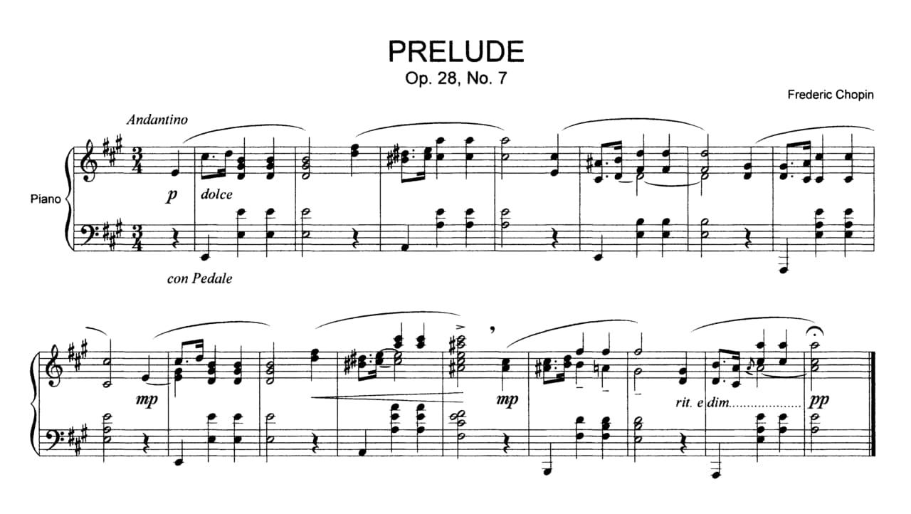 Notación musical del Preludio Op. 28, No. 7 de Frederic Chopin.