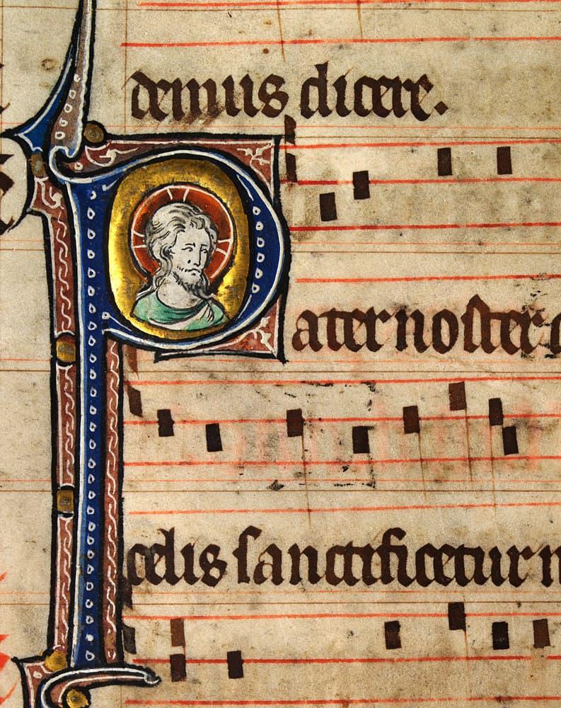 Página de un misal de la Edad Media donde se puede ver la notación musical que acompaña al canto.